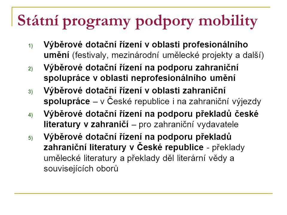 Státní programy podpory mobility 1) Výběrové dotační řízení v oblasti profesionálního umění (festivaly, mezinárodní umělecké projekty a další) 2) Výbě