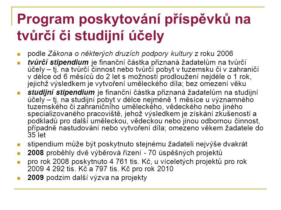 Program poskytování příspěvků na tvůrčí či studijní účely podle Zákona o některých druzích podpory kultury z roku 2006 tvůrčí stipendium je finanční č