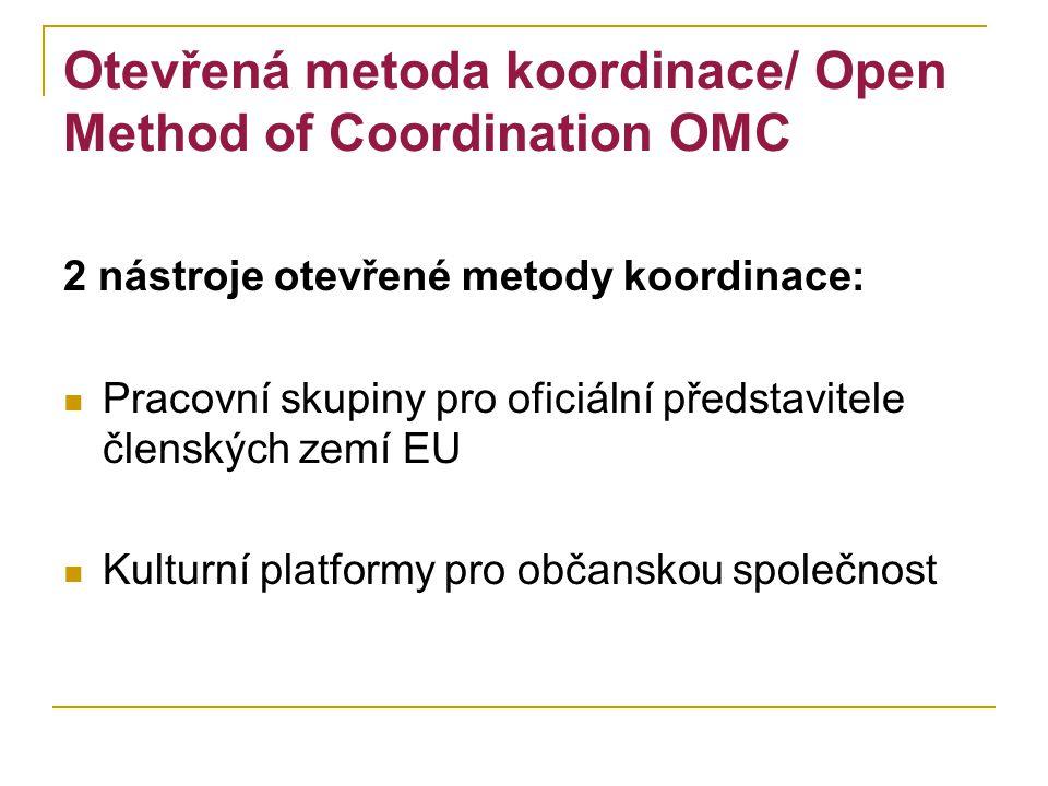 Otevřená metoda koordinace/ Open Method of Coordination OMC 2 nástroje otevřené metody koordinace: Pracovní skupiny pro oficiální představitele členských zemí EU Kulturní platformy pro občanskou společnost