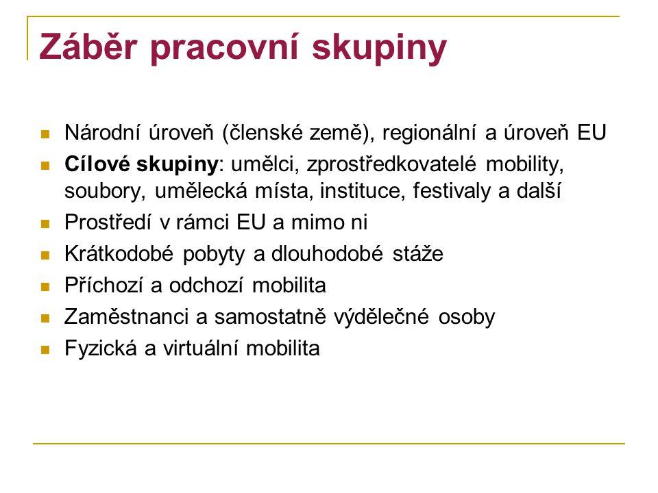 Záběr pracovní skupiny Národní úroveň (členské země), regionální a úroveň EU Cílové skupiny: umělci, zprostředkovatelé mobility, soubory, umělecká mís