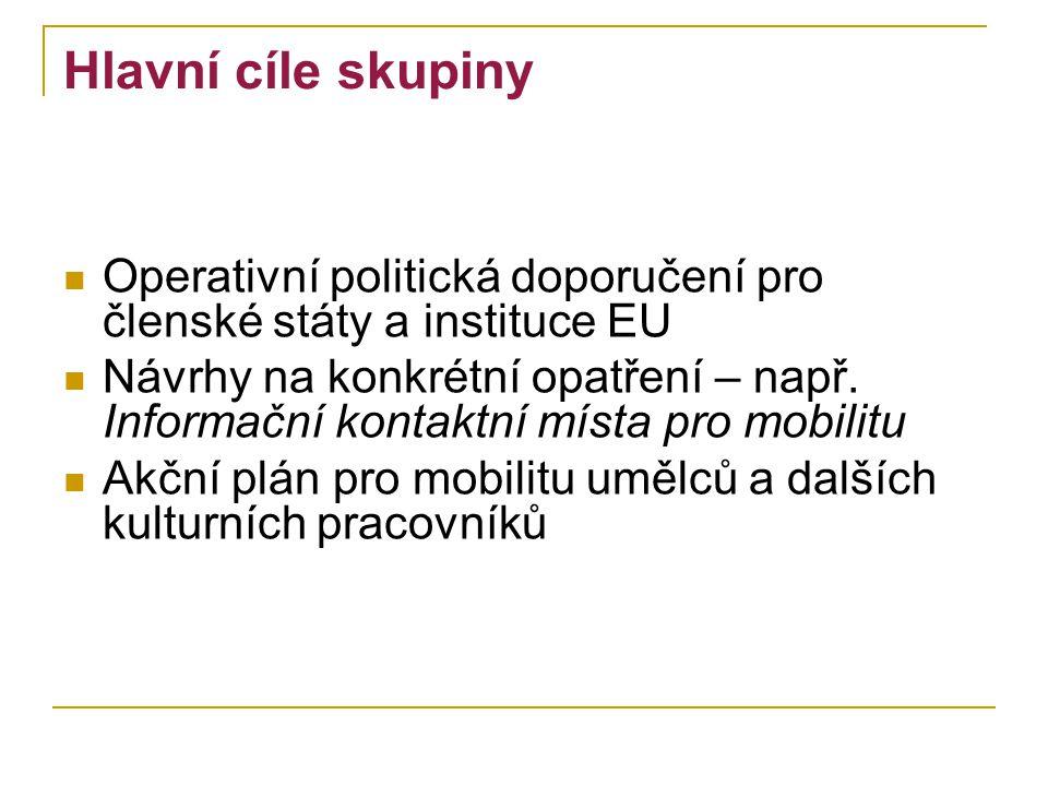 Hlavní cíle skupiny Operativní politická doporučení pro členské státy a instituce EU Návrhy na konkrétní opatření – např.
