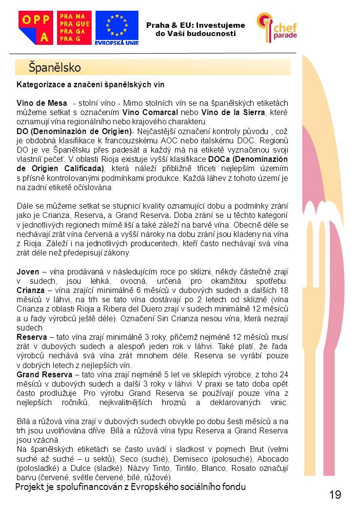 19 Španělsko 19 Praha & EU: Investujeme do Vaší budoucnosti Projekt je spolufinancován z Evropského sociálního fondu Kategorizace a značení španělskýc