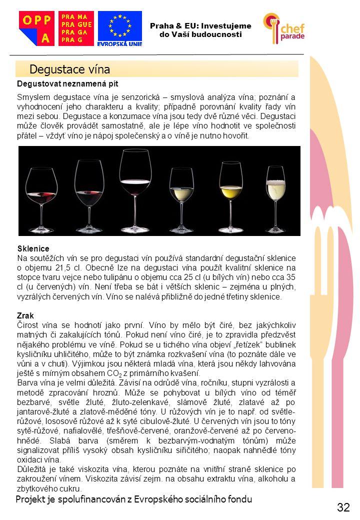 32 Degustace vína 32 Praha & EU: Investujeme do Vaší budoucnosti Projekt je spolufinancován z Evropského sociálního fondu Degustovat neznamená pít Smy