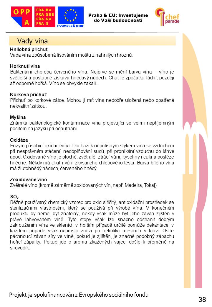 38 Vady vína 38 Praha & EU: Investujeme do Vaší budoucnosti Projekt je spolufinancován z Evropského sociálního fondu Hnilobná příchuť Vada vína způsob
