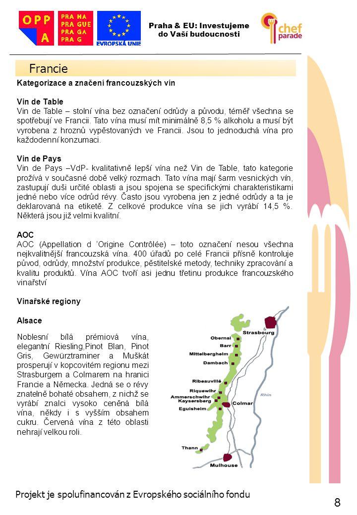 19 Španělsko 19 Praha & EU: Investujeme do Vaší budoucnosti Projekt je spolufinancován z Evropského sociálního fondu Kategorizace a značení španělských vín Vino de Mesa - stolní víno - Mimo stolních vín se na španělských etiketách můžeme setkat s označením Vino Comarcal nebo Vino de la Sierra, které oznamují vína regionálního nebo krajového charakteru.
