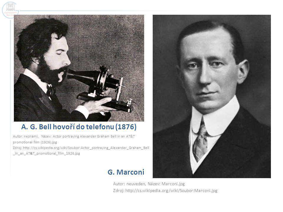 A. G. Bell hovoří do telefonu (1876) Autor: neznámý, Název: Actor portraying Alexander Graham Bell in an AT&T promotional film (1926).jpg Zdroj: http: