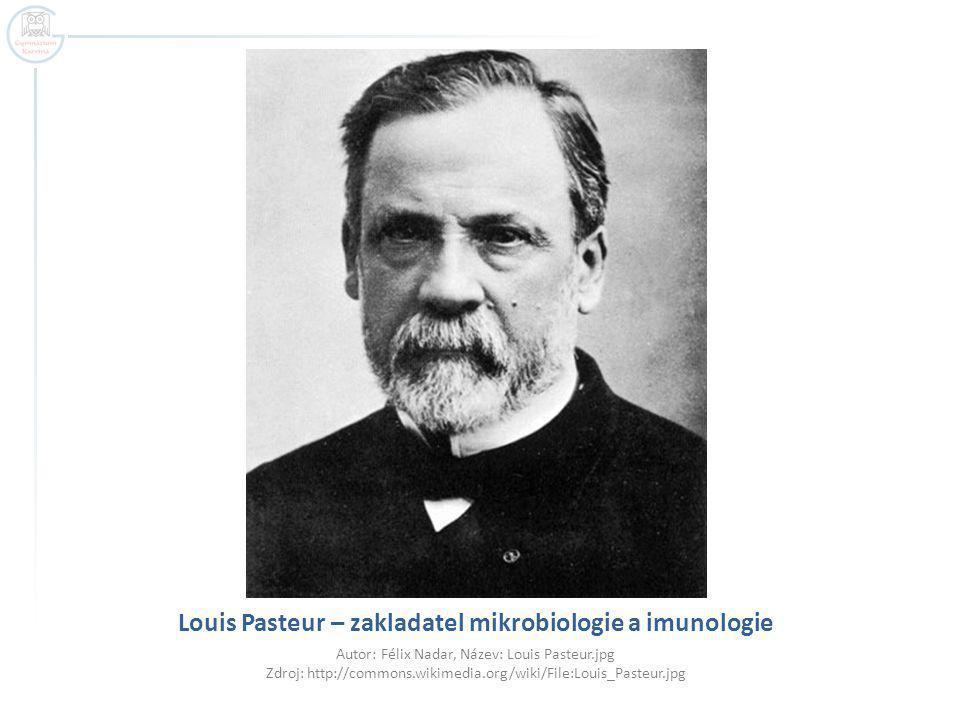 Louis Pasteur – zakladatel mikrobiologie a imunologie Autor: Félix Nadar, Název: Louis Pasteur.jpg Zdroj: http://commons.wikimedia.org/wiki/File:Louis_Pasteur.jpg