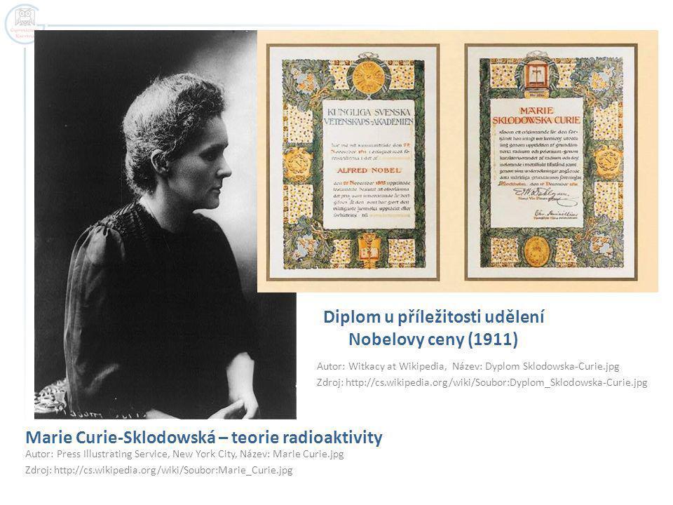 Marie Curie-Sklodowská – teorie radioaktivity Autor: Press Illustrating Service, New York City, Název: Marie Curie.jpg Zdroj: http://cs.wikipedia.org/wiki/Soubor:Marie_Curie.jpg Diplom u příležitosti udělení Nobelovy ceny (1911) Autor: Witkacy at Wikipedia, Název: Dyplom Sklodowska-Curie.jpg Zdroj: http://cs.wikipedia.org/wiki/Soubor:Dyplom_Sklodowska-Curie.jpg