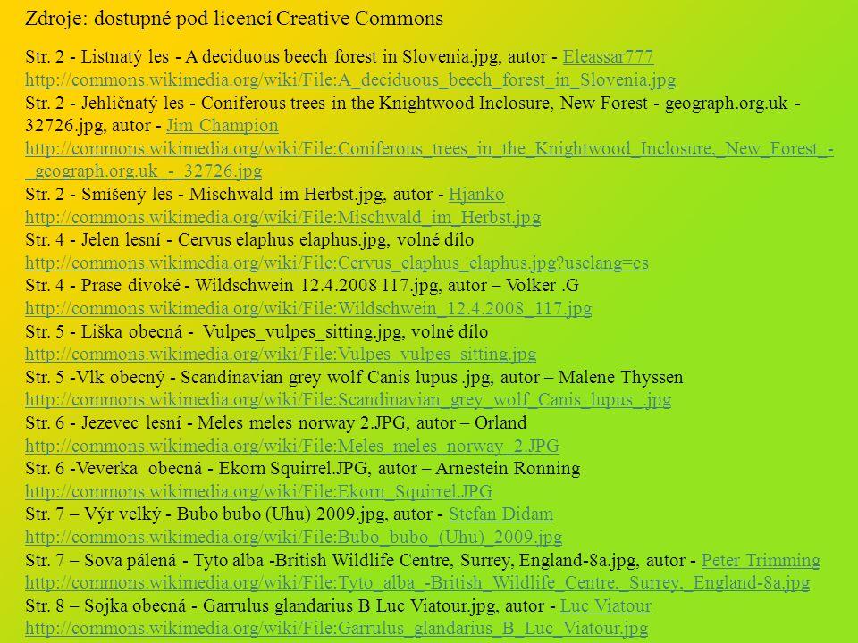 Zdroje: dostupné pod licencí Creative Commons Str.