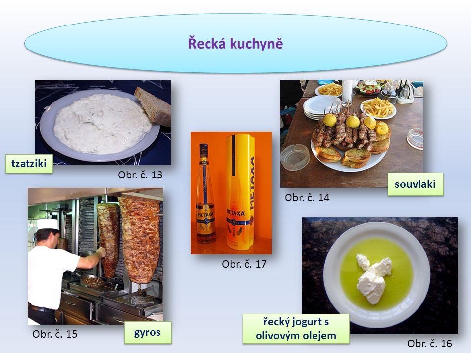 Řecká kuchyně tzatziki gyros řecký jogurt s olivovým olejem souvlaki Obr.