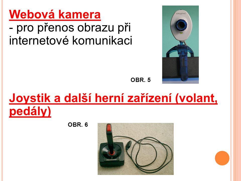 Webová kamera - pro přenos obrazu při internetové komunikaci Joystik a další herní zařízení (volant, pedály) OBR.