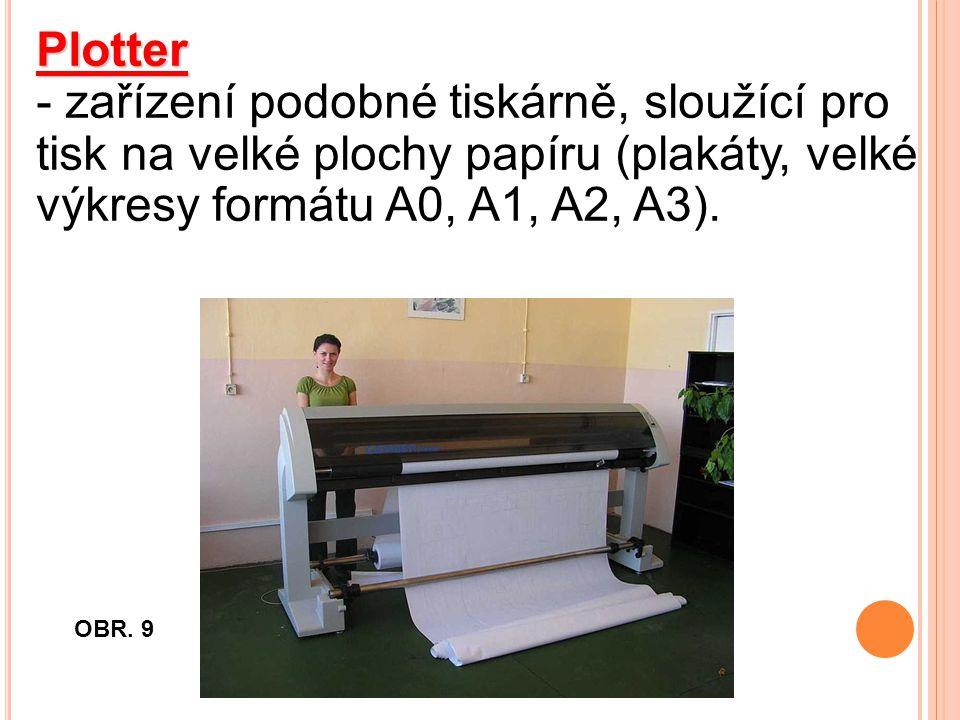 Plotter - zařízení podobné tiskárně, sloužící pro tisk na velké plochy papíru (plakáty, velké výkresy formátu A0, A1, A2, A3).
