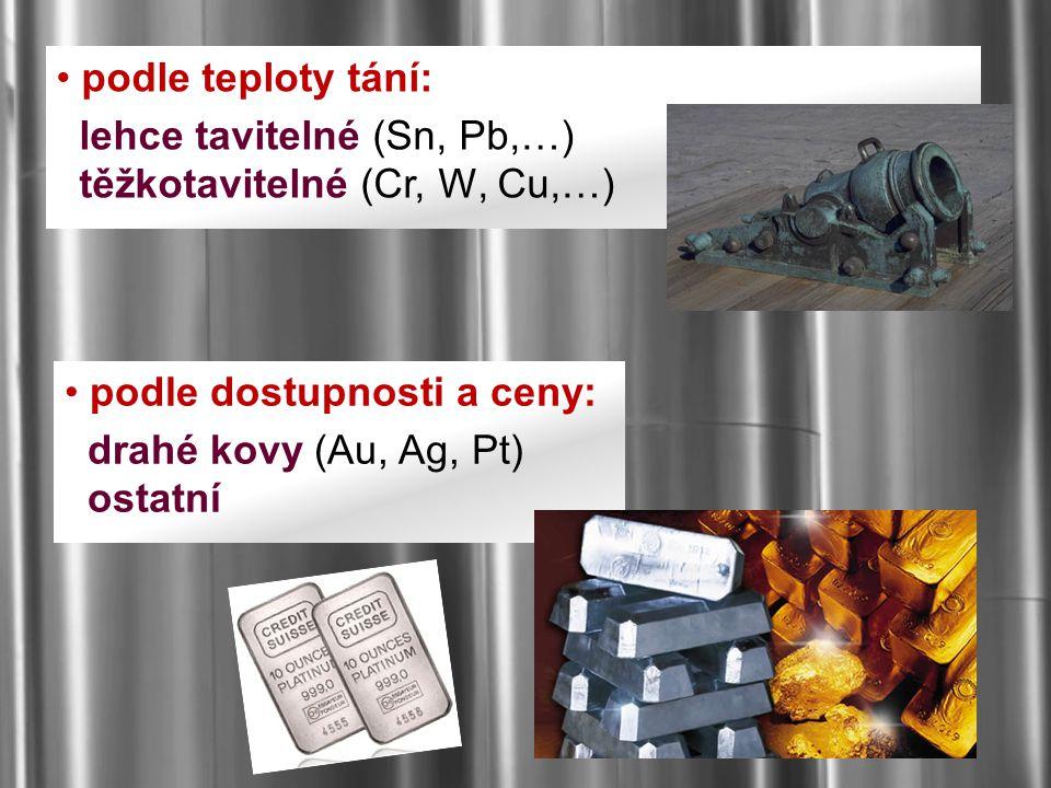 podle teploty tání: lehce tavitelné (Sn, Pb,…) těžkotavitelné (Cr, W, Cu,…) podle dostupnosti a ceny: drahé kovy (Au, Ag, Pt) ostatní