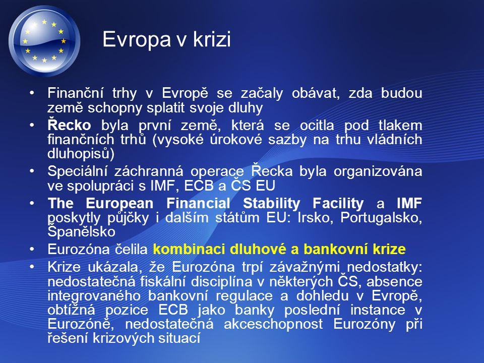 Evropa v krizi Finanční trhy v Evropě se začaly obávat, zda budou země schopny splatit svoje dluhy Řecko byla první země, která se ocitla pod tlakem f