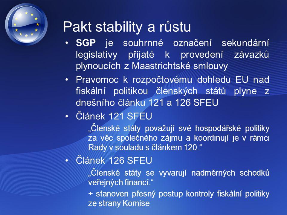 """SGP je souhrnné označení sekundární legislativy přijaté k provedení závazků plynoucích z Maastrichtské smlouvy Pravomoc k rozpočtovému dohledu EU nad fiskální politikou členských států plyne z dnešního článku 121 a 126 SFEU Článek 121 SFEU """"Členské státy považují své hospodářské politiky za věc společného zájmu a koordinují je v rámci Rady v souladu s článkem 120. Článek 126 SFEU """"Členské státy se vyvarují nadměrných schodků veřejných financí. + stanoven přesný postup kontroly fiskální politiky ze strany Komise Pakt stability a růstu"""