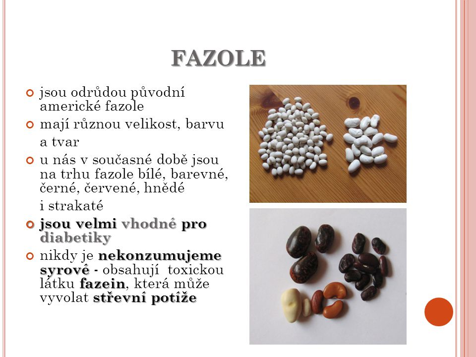 FAZOLE jsou odrůdou původní americké fazole mají různou velikost, barvu a tvar u nás v současné době jsou na trhu fazole bílé, barevné, černé, červené