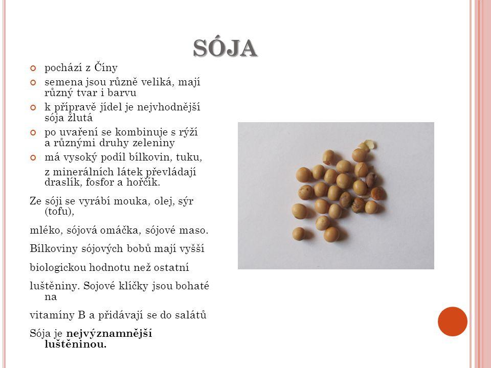 SÓJA pochází z Číny semena jsou různě veliká, mají různý tvar i barvu k přípravě jídel je nejvhodnější sója žlutá po uvaření se kombinuje s rýží a růz