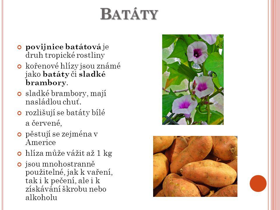 B ATÁTY B ATÁTY povijnice batátová je druh tropické rostliny kořenové hlízy jsou známé jako batáty či sladké brambory.