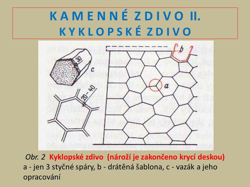 K A M E N N É Z D I V O II. K Y K L O P S K É Z D I V O Obr. 2 Kyklopské zdivo (nároží je zakončeno krycí deskou) a - jen 3 styčné spáry, b - drátěná
