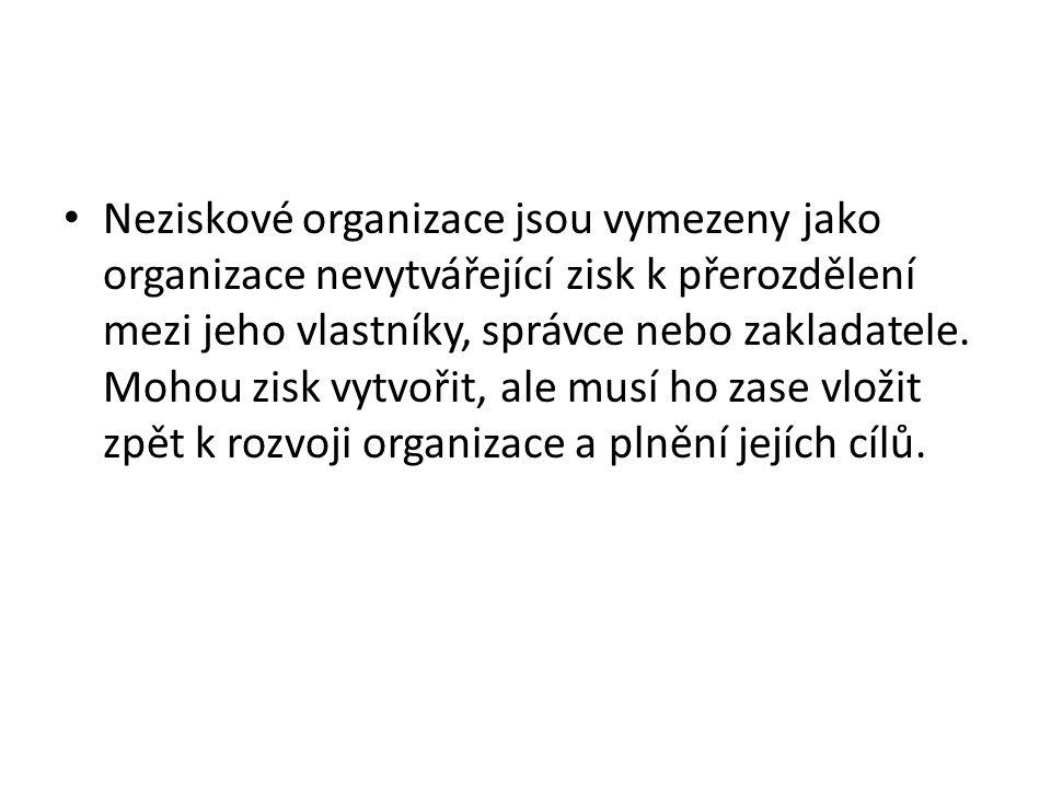 Neziskové organizace jsou vymezeny jako organizace nevytvářející zisk k přerozdělení mezi jeho vlastníky, správce nebo zakladatele.