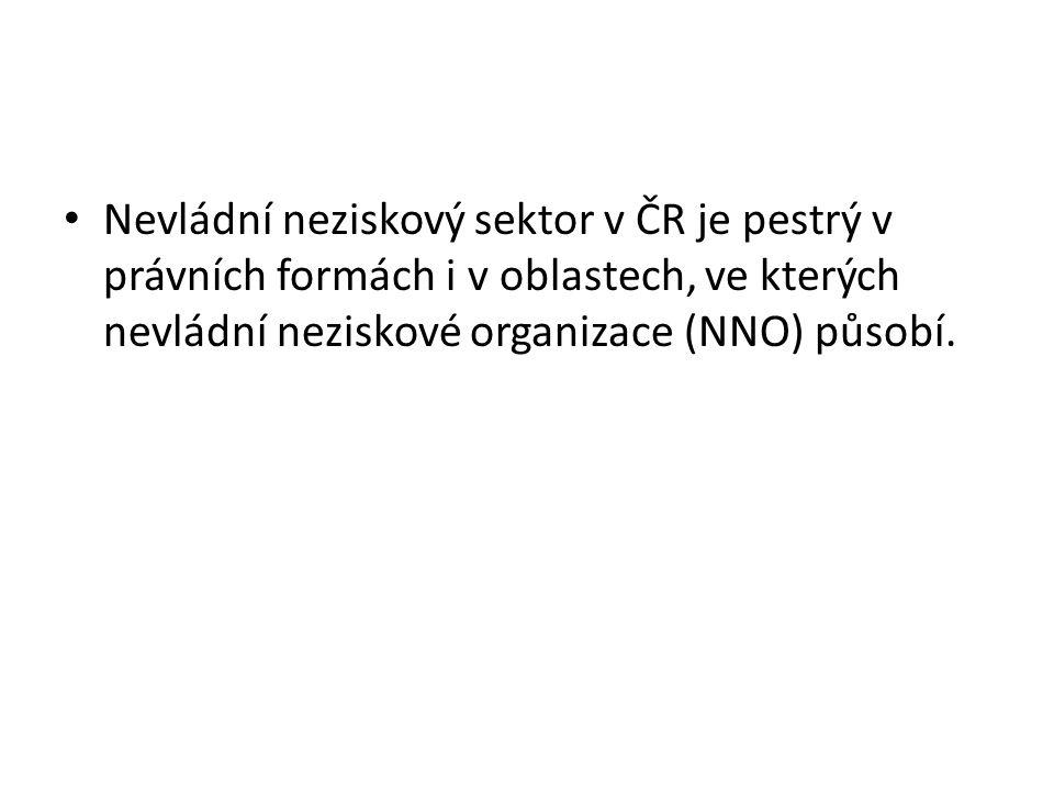 Nevládní neziskový sektor v ČR je pestrý v právních formách i v oblastech, ve kterých nevládní neziskové organizace (NNO) působí.