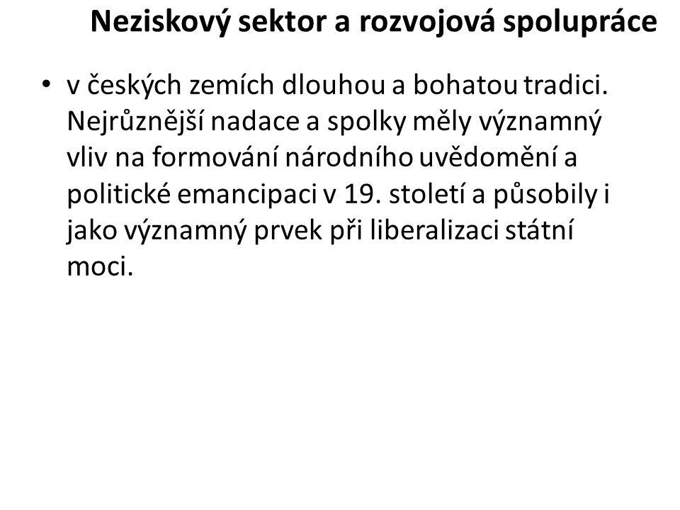 Neziskový sektor a rozvojová spolupráce v českých zemích dlouhou a bohatou tradici.