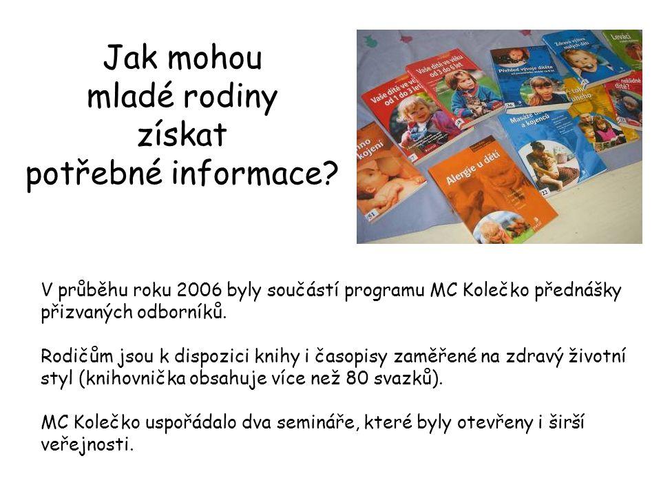 V průběhu roku 2006 byly součástí programu MC Kolečko přednášky přizvaných odborníků. Rodičům jsou k dispozici knihy i časopisy zaměřené na zdravý živ