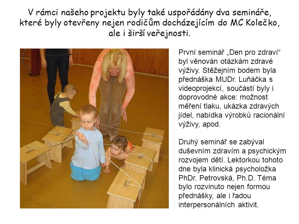 V rámci našeho projektu byly také uspořádány dva semináře, které byly otevřeny nejen rodičům docházejícím do MC Kolečko, ale i širší veřejnosti. První