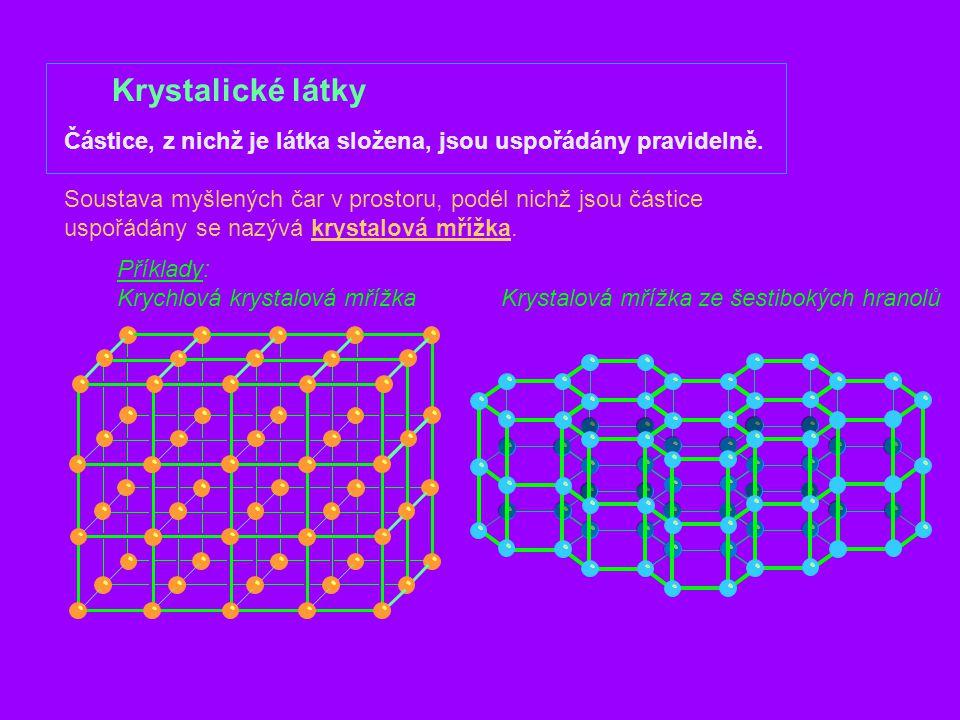 Krystalické látky Příklady: Krychlová krystalová mřížkaKrystalová mřížka ze šestibokých hranolů Částice, z nichž je látka složena, jsou uspořádány pra