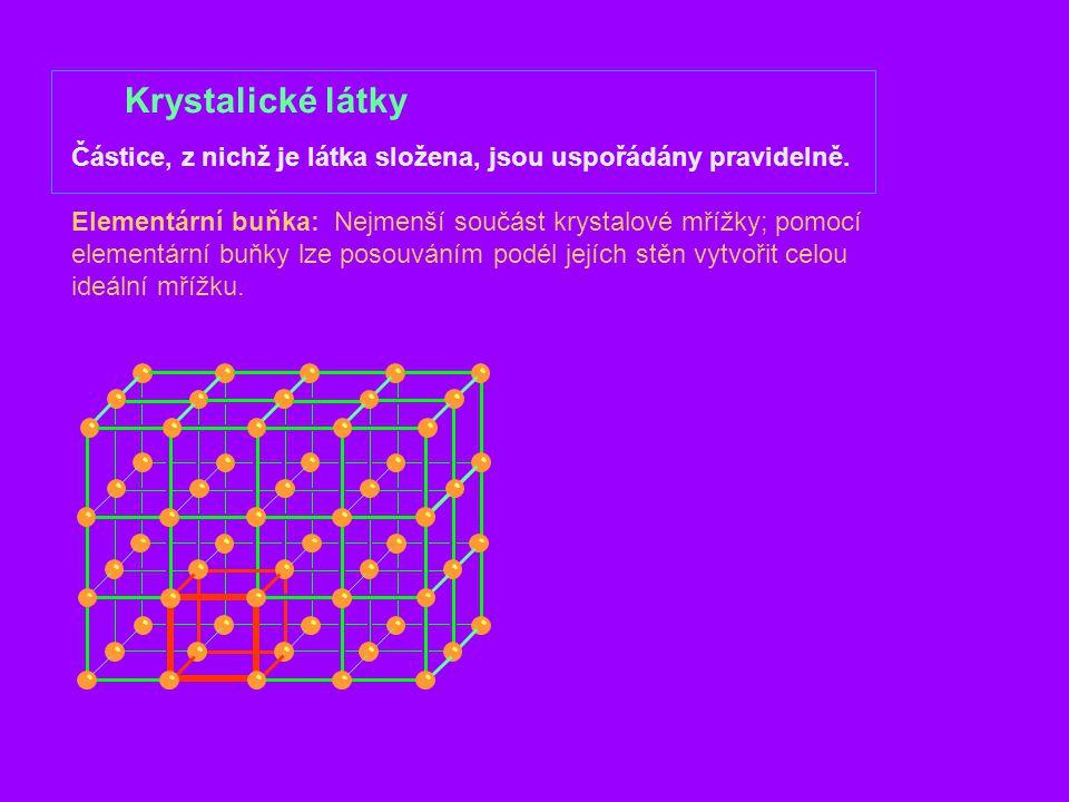 Krystalické látky Polykrystalické látky Látka se skládá z velkého množství malých (10  m – 1 mm) krystalků (zrna); uvnitř zrn je uspořádání pravidelné, vzájemná poloha zrn je náhodná.