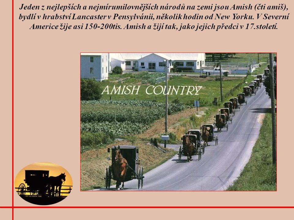 Jeden z nejlepších a nejmírumilovnějších národů na zemi jsou Amish (čti amiš), bydlí v hrabství Lancaster v Pensylvánii, několik hodin od New Yorku.