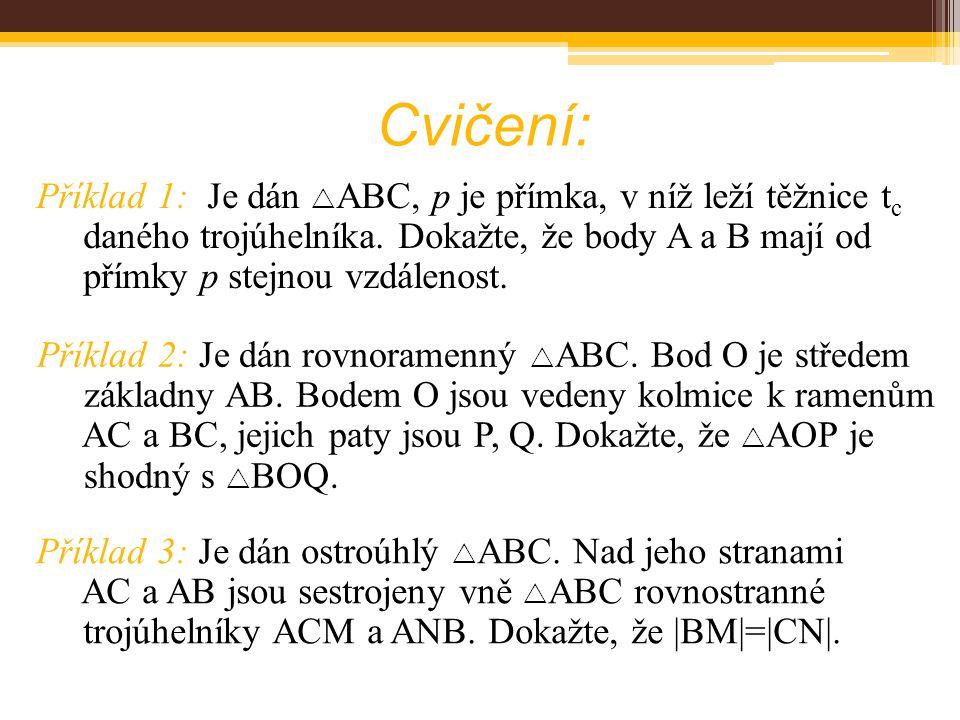 Cvičení: Příklad 1: Je dán  ABC, p je přímka, v níž leží těžnice t c daného trojúhelníka. Dokažte, že body A a B mají od přímky p stejnou vzdálenost.