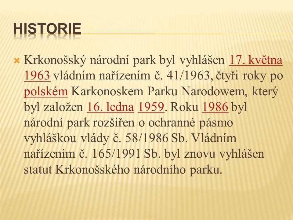  Krkonošský národní park byl vyhlášen 17. května 1963 vládním nařízením č. 41/1963, čtyři roky po polském Karkonoskem Parku Narodowem, který byl zalo