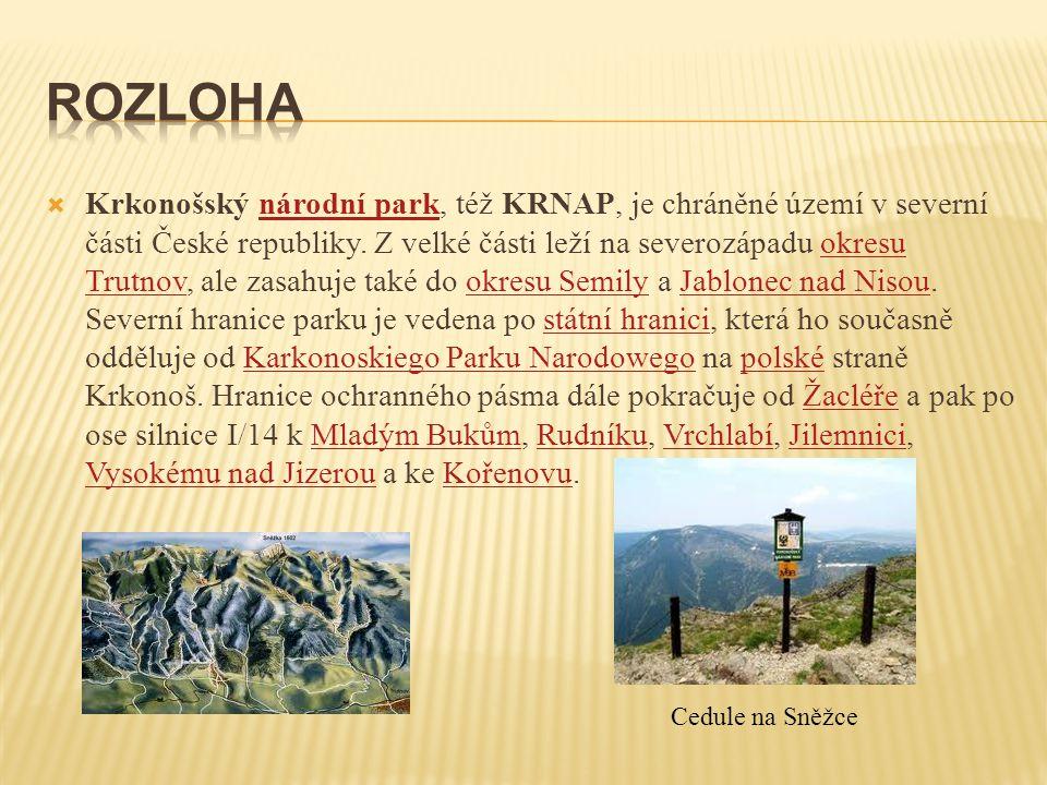  Krkonošský národní park, též KRNAP, je chráněné území v severní části České republiky. Z velké části leží na severozápadu okresu Trutnov, ale zasahu