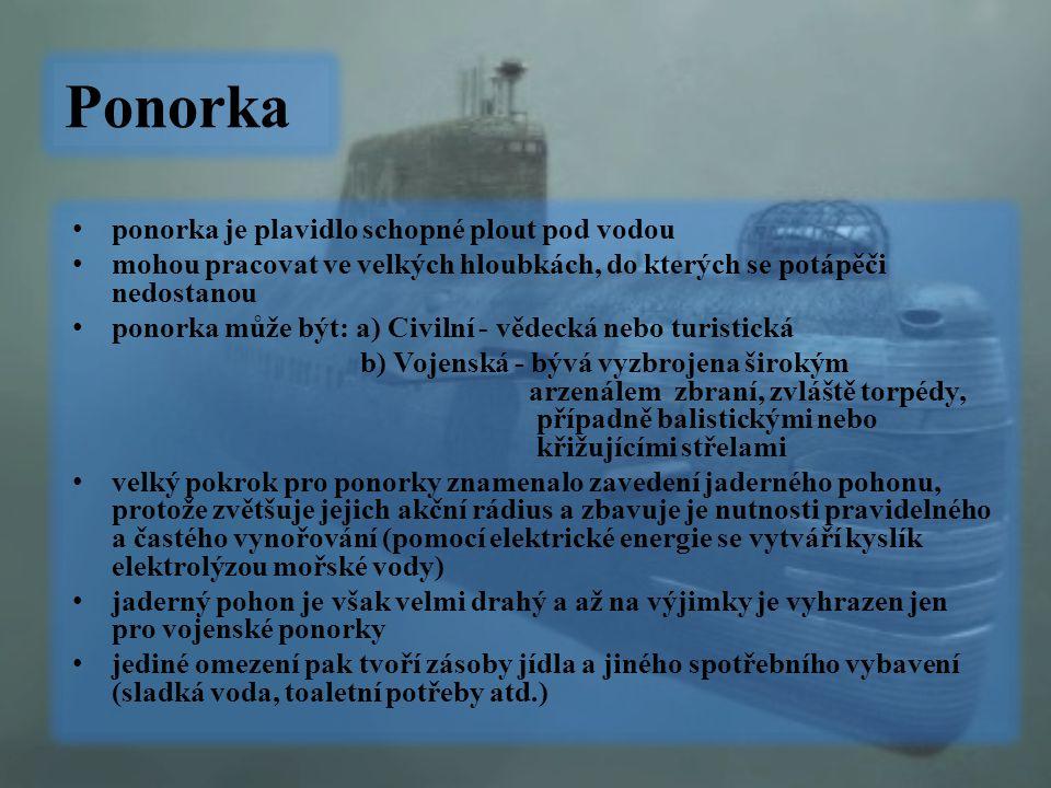 Ponorka ponorka je plavidlo schopné plout pod vodou mohou pracovat ve velkých hloubkách, do kterých se potápěči nedostanou ponorka může být: a) Civiln