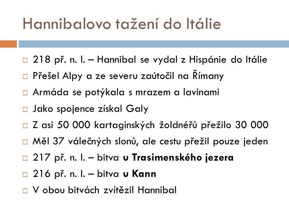 Hannibalovo tažení do Itálie  218 př. n. l. – Hannibal se vydal z Hispánie do Itálie  Přešel Alpy a ze severu zaútočil na Římany  Armáda se potýkal