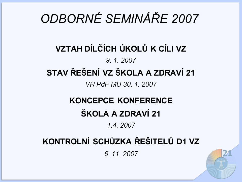 ODBORNÉ SEMINÁŘE 2007 VZTAH DÍLČÍCH ÚKOLŮ K CÍLI VZ 9.