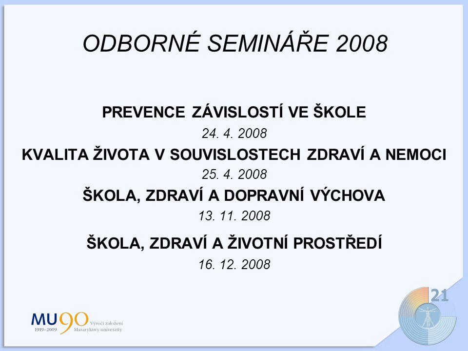 ODBORNÉ SEMINÁŘE 2008 PREVENCE ZÁVISLOSTÍ VE ŠKOLE 24.