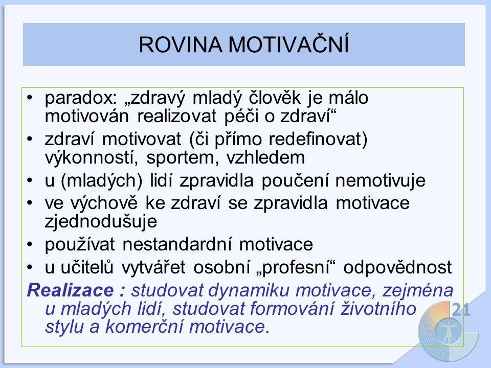 """ROVINA MOTIVAČNÍ paradox: """"zdravý mladý člověk je málo motivován realizovat péči o zdraví zdraví motivovat (či přímo redefinovat) výkonností, sportem, vzhledem u (mladých) lidí zpravidla poučení nemotivuje ve výchově ke zdraví se zpravidla motivace zjednodušuje používat nestandardní motivace u učitelů vytvářet osobní """"profesní odpovědnost Realizace : studovat dynamiku motivace, zejména u mladých lidí, studovat formování životního stylu a komerční motivace."""