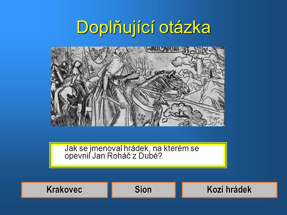 Správná odpověď.Byl to Jan Roháč z Dubé.