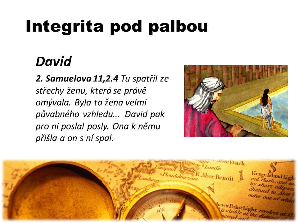 Integrita pod palbou David 2. Samuelova 11,2.4 Tu spatřil ze střechy ženu, která se právě omývala. Byla to žena velmi půvabného vzhledu… David pak pro