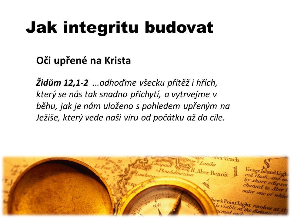 Jak integritu budovat Oči upřené na Krista Židům 12,1-2 …odhoďme všecku přítěž i hřích, který se nás tak snadno přichytí, a vytrvejme v běhu, jak je n