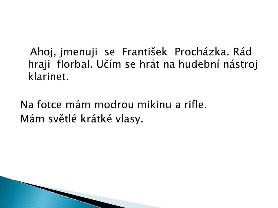 Ahoj, jmenuji se František Procházka.Rád hraji florbal.