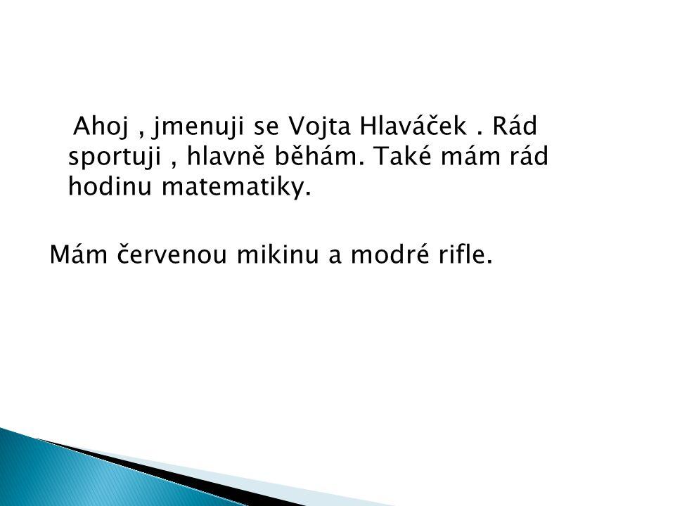Ahoj, jmenuji se Vojta Hlaváček.Rád sportuji, hlavně běhám.