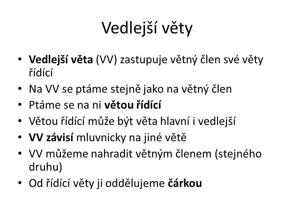Vedlejší věty Vedlejší věta (VV) zastupuje větný člen své věty řídící Na VV se ptáme stejně jako na větný člen Ptáme se na ni větou řídící Větou řídíc