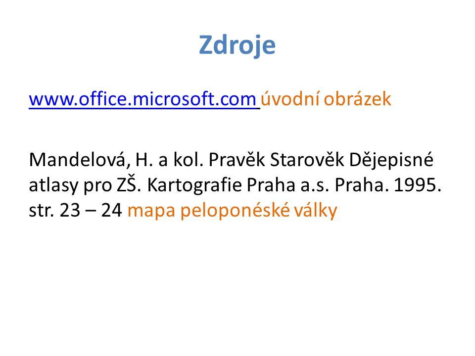 Zdroje www.office.microsoft.comwww.office.microsoft.com úvodní obrázek Mandelová, H.