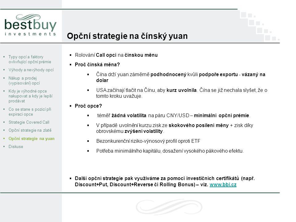 Opční strategie na čínský yuan  Typy opcí a faktory ovlivňující opční prémie  Výhody a nevýhody opcí  Nákup a prodej (vypisování) opcí  Kdy je výhodné opce nakupovat a kdy je lepší prodávat  Co se stane s pozicí při expiraci opce  Strategie Covered Call  Opční strategie na zlatě  Opční strategie na yuan  Diskuse  Rolování Call opcí na čínskou měnu  Proč čínská měna.