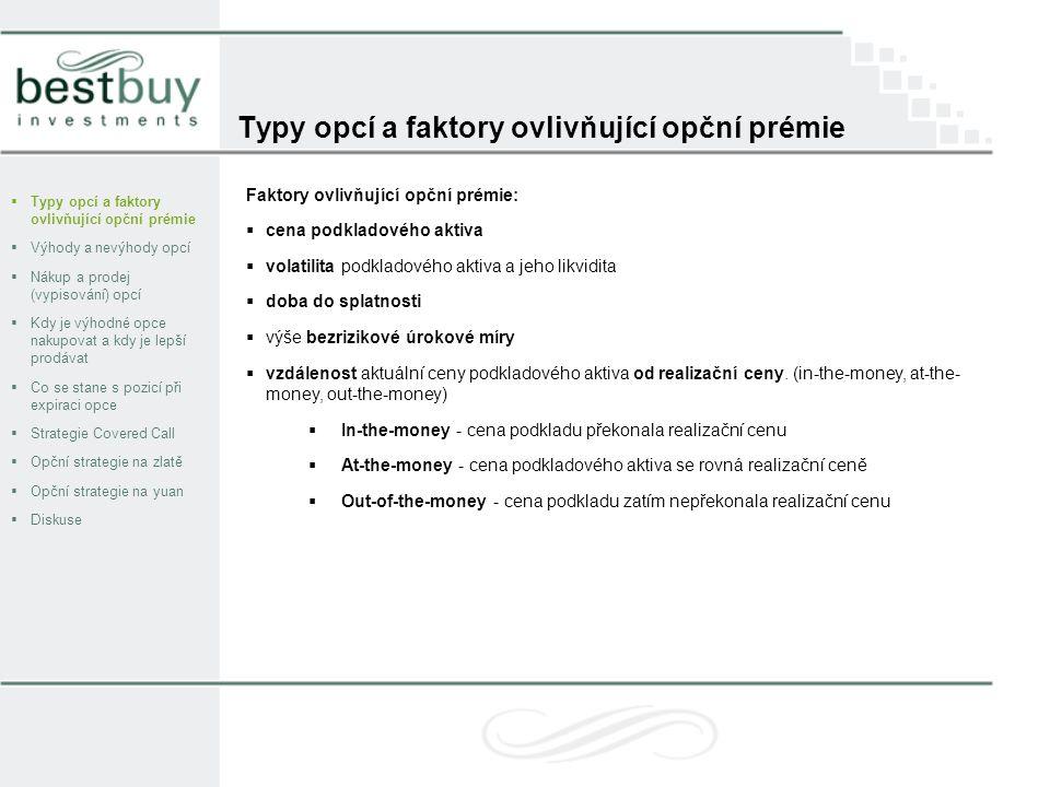 Typy opcí a faktory ovlivňující opční prémie  Typy opcí a faktory ovlivňující opční prémie  Výhody a nevýhody opcí  Nákup a prodej (vypisování) opcí  Kdy je výhodné opce nakupovat a kdy je lepší prodávat  Co se stane s pozicí při expiraci opce  Strategie Covered Call  Opční strategie na zlatě  Opční strategie na yuan  Diskuse Faktory ovlivňující opční prémie:  cena podkladového aktiva  volatilita podkladového aktiva a jeho likvidita  doba do splatnosti  výše bezrizikové úrokové míry  vzdálenost aktuální ceny podkladového aktiva od realizační ceny.