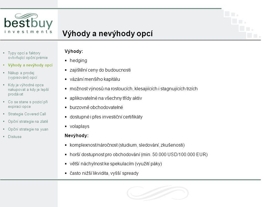 Nákup a prodej (vypisování) opcí  Typy opcí a faktory ovlivňující opční prémie  Výhody a nevýhody opcí  Nákup a prodej (vypisování) opcí  Kdy je výhodné opce nakupovat a kdy je lepší prodávat  Co se stane s pozicí při expiraci opce  Strategie Covered Call  Opční strategie na zlatě  Opční strategie na yuan  Diskuse  Opce je možné koupit i prodat (vypsat) na CBOE (Chicago Board Options Exchange) nebo jiné burze k tomu určené, v Evropě se obchodují na burze EUREX.