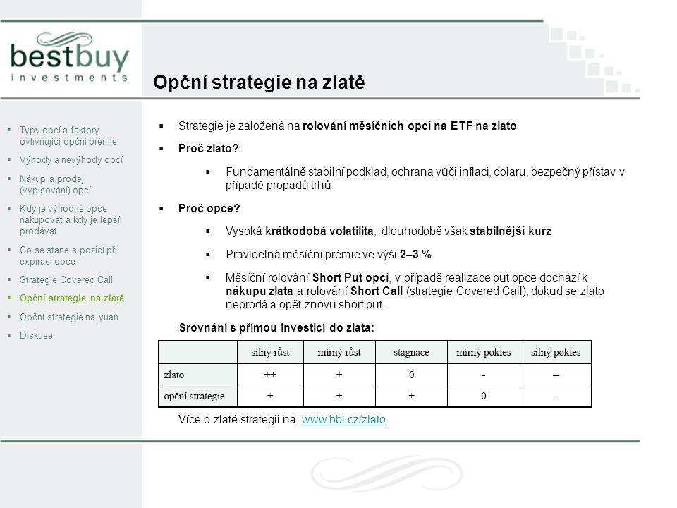 Opční strategie na zlatě  Typy opcí a faktory ovlivňující opční prémie  Výhody a nevýhody opcí  Nákup a prodej (vypisování) opcí  Kdy je výhodné opce nakupovat a kdy je lepší prodávat  Co se stane s pozicí při expiraci opce  Strategie Covered Call  Opční strategie na zlatě  Opční strategie na yuan  Diskuse  Strategie je založená na rolování měsíčních opcí na ETF na zlato  Proč zlato.